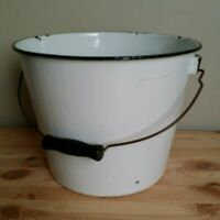 Vintage White Black Trim Enamel Bucket Wooden Bail Handle 1950's