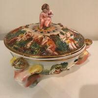 Vtg Italy Capodimonte Porcelain Lid Bowl nude cherub lady handles 138 unique