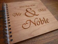 Personalised Engraved Wooden Wedding Guestbook : Custom Guest Book