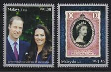 MALAYSIA 2012 DIAMOND JUBILEE OF QE II COMP. SET OF 2 STAMPS MINT UNUSED