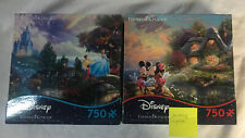 Lot 2 Jigsaw Puzzles Disney's Cinderella, Minnie & Mickey Thomas Kinkade 750 Pcs