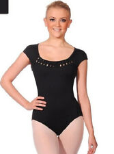 NWT Dance Bloch Black Cap Sleeve Leotard Rouleau Weave Ladies Small Adult L2802