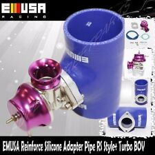 "EMUSA BLUE 3"" Reinforce Silicone Adapter Type RS Pipe+Turbo BOV Blow off valve"