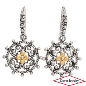 BARBARA BIXBY 18K Gold Sterling Silver Dangle Earrings 5.0 Grams NR