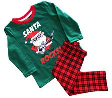 SANTA ROCKS 2-PC Christmas Set Long Sleeve Graphic Top, Buffalo Plaid Pants 18 M