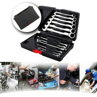 12x Metric Fixed Head Ratcheting Wrench Combination Spanner 8-19mm Tool Set Box