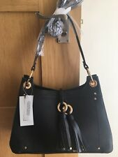 eef8533aa1f2 River Island BLACK TASSEL DOUBLE RING CROSS BODY BAG new with tags