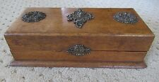 "Antique Fancy Oak Dresser Vanity Wood Box Chest Ornate Metal Decor & Latch 12"""