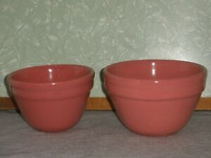 2 Vintage FOWLER WARE Pink Pottery KITCHEN BOWLS Very Good Condition