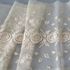 """Antique Ecru Embroidered FRENCH LACE Trim Insertion ROSES 10"""" Wide X 88"""" * DOLLS"""