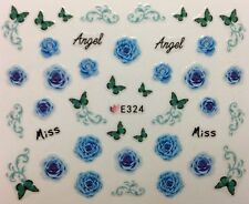 Nail Art 3D Decal Stickers Blue Roses Teal Butterflies Miss Angel E324