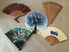 5 Vintage Folding Fans from Around the World