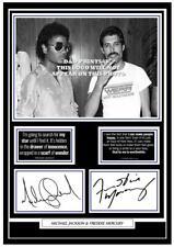 More details for 53) michael jackson & freddie mercury signed a4 photo mounted/framed/unframed