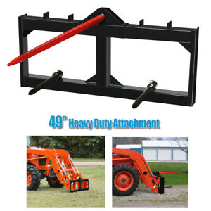 """Hay Bale Spear Skid Steer Loader Tractors Quick Tach Attachment Moving Hitch 49"""""""