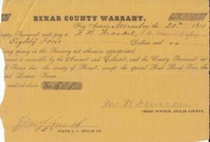 Samuel Maverick Signed Bexar County Warrant Texas Declaration Texana San Antonio