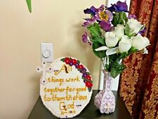 HANDMADE RELIGIOUS SIGN AND VASE