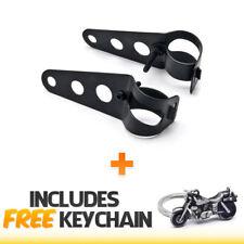 Black Headlight Mounting Bracket Fork Ear Cafe Racer 31-37mm+Cruiser Keychain