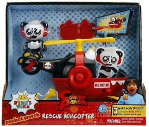 RYAN'S WORLD Combo Panda Figure with Rescue Helicopter Playset