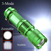 1/2stk Portable Design 3.7V-4.2V Q5 LED Zoomable 1200lm Taschenlampe Grün 3Modi
