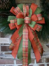 FALL PLAID BOW ORANGE PLAID WIRED for WREATH MAIL POST LANTERN HALLOWEEN B14 tf