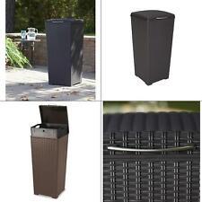 30 gal. brown wicker style plastic trash can | resin waste keter basket liner