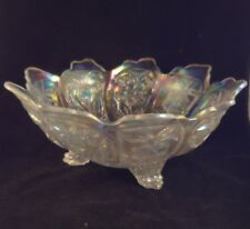"IMPERIAL EVERGLADE 9 1/2"" OPALESCENT CRYSTAL Frosted CONSOLE BOWL 3 Toed Clear"