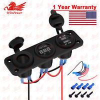 Dual USB Charger + Voltmeter+ 12V Power Socket + 3 Gang Panel Boat Car Blue US