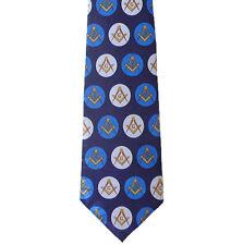 Freemason's Tie - Blue and White Polyester polka dot Masonic pattern