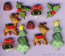 REINDEER GAMES - Rudolph Tree Bell Holly Christmas Dress It Up Craft Buttons