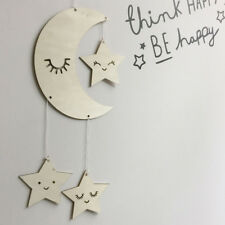 1pcs Wooden Lash Moon Star Hanging Ornament Kids Bedoom Decor Photography Prop