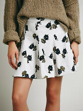 Free People Good Day Sunshine Printed Corduroy Skirt In Ivory Combo Size 10