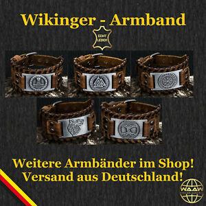 Echt Lederarmband Wikinger Runen Armband Valknut Thor Odin Mjölnir Vegvisir Axt
