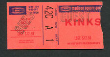 1981 The Kinks concert ticket stub Madison Square Garden You Really Got Me Lola