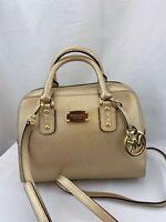 NWT Michael Kors Saffiano Leather Small Satchel Handbag Pale Gold