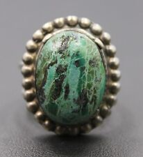 Adjustable Sterling Silver Ring Green & Brown Oval Agate Stone Ring