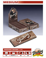 50 libritos de Papel de fumar Smoking brown  1 1/4 tamaño normal. papel Natural