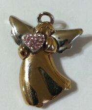 Gold & Silver Angel Pin Brooch With Pink Heart