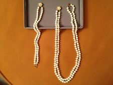CULTURED FRESHWATER PEARLS  2-ROW SET NECKLACE & BRACELET WITH 14K GOLD CLASP
