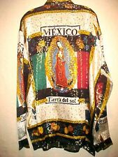 NEW MEN METALLIC SILK BAROQUE VIRGEN DE GUALUPE MEXICO VERACE STYLE SHIRT LARGE