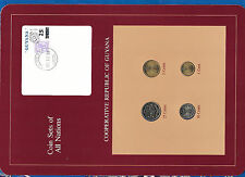 Coin Sets of All Nations Guyana wcard UNC 25,10,5 cents 1985 1 cent 1982 DEC1284