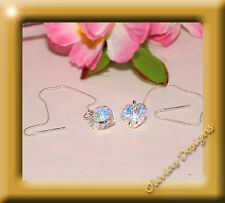 Boucles d'oreilles & Collier Argent 925,avec d Cristaux SWAROVSKI Arc-en-ciel