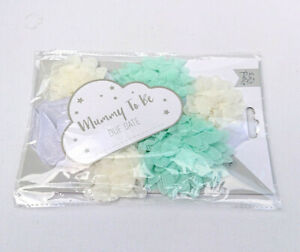 Mummy To Be BABY SHOWER SASH Big Flowers Cloud MINT GREEN LEMON WHITE Ribbon Tie