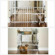 Pet Gate with Door for Small Cats Dogs Expandable Step Over Adjustable Movable