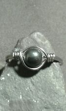 Natural Hematite Gemstone Silver Wire Wrapped Ring ANY SIZE