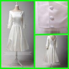 1950s Vinatge 3/4 Length Sleeves Tea Length Wedding Dress W826
