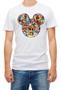 Mickey Mouse silhouette Disney characters Short sleeve White Men T shirt K402