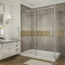 "ASTON GLOBAL Moselle 60"" x 35"" x 75"" Frameless Sliding Shower Enclosure"