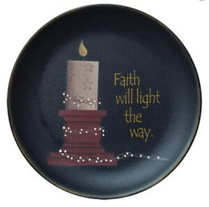 Primitive Wood Plate Faith Will Light the Way Michelle Kildow 11.5 inch