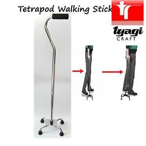 Tetrapod Quad Walking Stick Adjustable Aid 4 Leg Four Feet Stable Cane