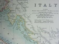 1910 MAP ~ ITALY ~ SARDINIA SICILY TUSCAANY ROME EMILIA CAMPANIA
